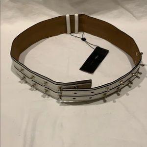 BCBG Maxszria cream belt silver studs.adjustable